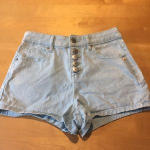 BCBG high waisted light wash jean shorts